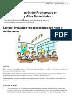 Formación Superdotados y Altas Capacidades_ Lectura_ Evaluación Psicopedagógica Con Niños y Adolescentes