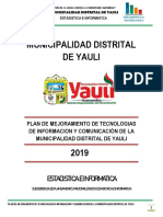 Plan de Trabajo de Mejoramiento de las Tecnologías de Información y Comunicación de la Municipalidad Distrital de Yauli 2019