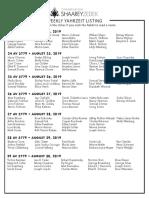 August 24, 2019 Yahrzeit List