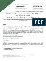Effect of geometrical parameters FSW