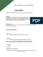 Acuerdo de Paris - Ley 27270 - Se Aprueba en la Republica Argentina