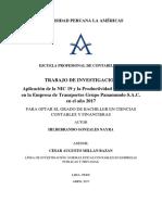 APLICACIÓN DE LA NIC 19 Y LA PRODUCTIVIDAD EMPRESARIAL EN LA EMPRESA DE TRANSPORTES GRUPO PANAMUNDO S.A.C. EN EL AÑO 2017-convertido.docx