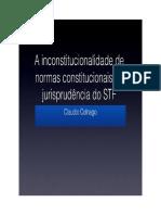 A Inconstitucionalidade de Normas Constitucionais Na Jurisprudência do Supremo Tribunal Federal - Cláudio Colnago
