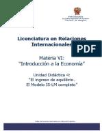 Introd Economía UD4- El Ingreso de Equilibrio. El Modelo is-LM Completo