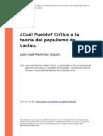 Juan Jose Martinez Olguin (2013). Cual Pueblo Critica a La Teoria Del Populismo de Laclau