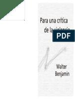 Walter Benjamin - Para Una Crítica de La Violencia