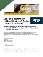 Jens Lutz Hestermann - Geschäftsführer - Deutsche Gold Manufaktur GmbH