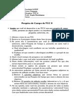 PESQUISA DE CAMPO DE TCC