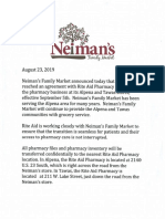Neiman's Statement on Pharmacy Closure