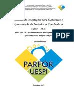 Manuel de orientações para elaboração e apresentação de trabalho de conclusão de curso - TCC
