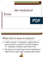 Writing the Analytical Essay