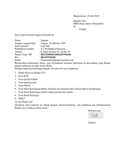 Contoh Surat Lamaran Kerja Di Ninja Express Id Lif Co Id
