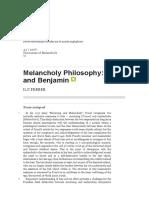 FERBER Ilit Melancholy Philosophy Freud Benjamin