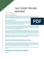 Tutorial Cara Install Mikrotik Dengan Netinstall