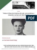 """""""Pelas Trilhas de Virgínia Bicudo_ Psicanálise e Relações Raciais Em São Paulo"""" – PSICANALISTAS PELA DEMOCRACIA"""