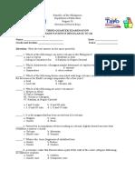 Third Quarter Examination Grade 9 Regular