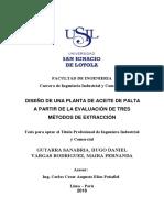 Palta procesos - Diseño de planta de aceit de palta a partir de la evaluaciónd e tres metodos de extracción.pdf