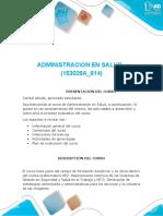 Presentación Del Curso Administración en Salud
