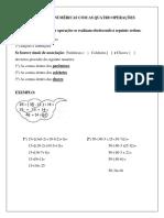 Expressões Numéricas Com as Quatro Operações Texto e Atividade