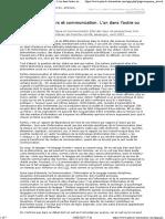 13 - Analyse de Discours Et Communication. L'Un Dans l'Autre Ou l'Autre Dans l'Un