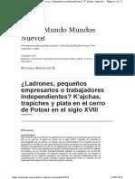 R. Baarragán Ladrones, Pequeños Empresarios o Trabajadores Independientes