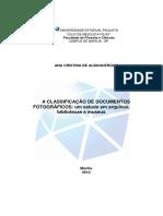 A Classificação de Documentos Fotográficos