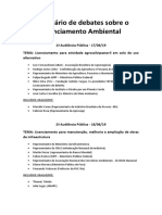 GT - Licenciamento Ambiental - Cronograma audiências públicas