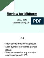 Phonetics Midterm Review
