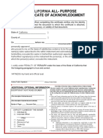 All-Purpose Notary Acknowledgment Form