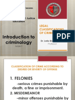 Legal Classification of Crimes