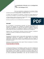 Derechos Humanos y Consentimiento Informado en Las Investigaciones Biomédicas en Colombia1