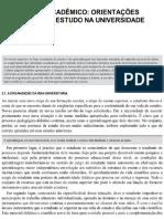 O Trabalho Acadêmico - Orientações Gerais Para o Estudo Na Universidade. Severino, A
