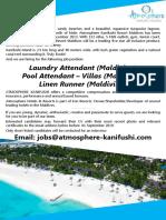 Laundry Attendant, Pool Attendant - Villas, Linen Runner
