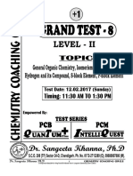 Grand Test 8 Organic Chemistry Level 2