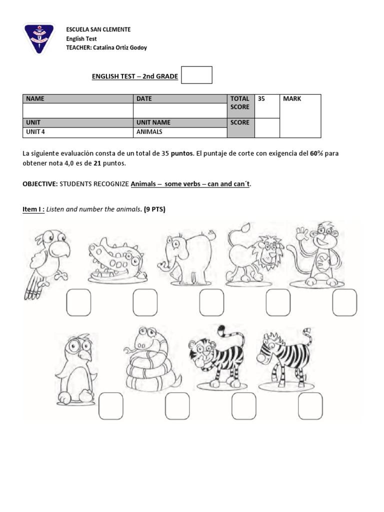 2nd Grade Animals test