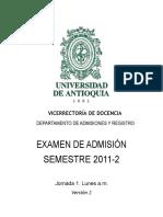 Examen de Admision Universidad de Antioquia 2011-2-1