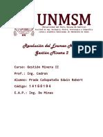 Examen de Gestión Minera II