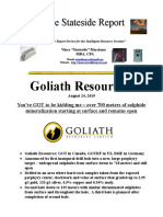 Goliath Resources Over 700 Meters of Mineralization Starting at Surface