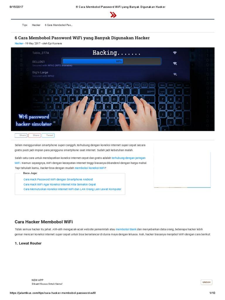 6 cara membobol password wifi yang