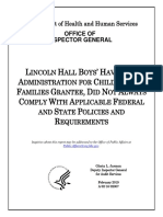OIG findings of noncompliance by LINCOLN HALL BOYS' HAVEN caring for UACs