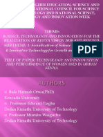 Technology and Innovation and Performance of Women Sses in Urban Kenya