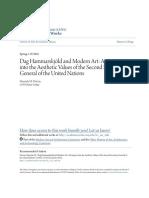Dag Hammarskjold and modern art - an inquiry into the aestethic