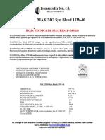 Maximo Syn Blend 15w40 Ficha Tecnica