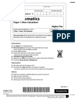 GCSE Maths Edexcel Sample Non-Calculator (Paper 1)