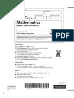 GCSE Maths Edexcel Specimen 1 Non-Calculator (Paper 1)