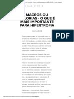 MACROS Ou CALORIAS - O Que é Mais Importante Para HIPERTROFIA — Pinho Calistenia