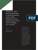 Acerca de La novela de la poesía de T. Kamenszain