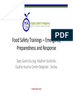 Food Safety Trainings Emergency Preparedness and Response