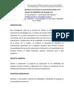 Fomento de La Adquisición de La Lectura en Prescolares Basado en La Optimización de Habilidade