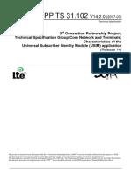 3GPP TS 31.102 - Characteristics of the Universal Subscriber Identity Module (USIM) Application